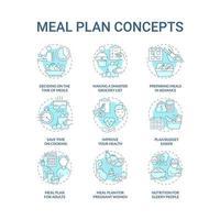 conjunto de ícones de conceito azul relacionados com plano de refeição vetor