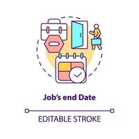 ícone do conceito de data de término do trabalho vetor