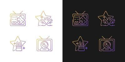ícones gradientes de gêneros de programas de tv configurados para o modo claro e escuro vetor