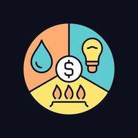 ícone de cor rgb de pagamento de contas para tema escuro vetor