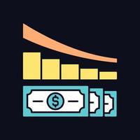ícone de cor rgb de redução de despesas para tema escuro vetor