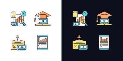conjunto de ícones de cores rgb de tema claro e escuro de investimento vetor