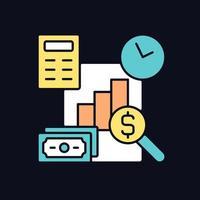 ícone de cor rgb de gestão financeira para tema escuro vetor