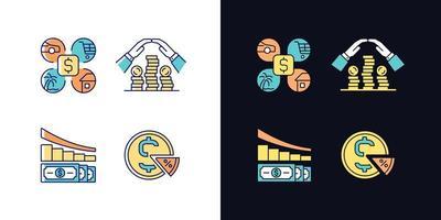 dinheiro gasto conjunto de ícones de cores rgb tema claro e escuro vetor