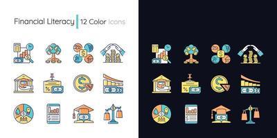 conjunto de ícones de cores rgb de tema claro e escuro de alfabetização financeira vetor