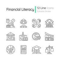 conjunto de ícones lineares de alfabetização financeira vetor