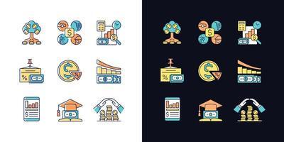financiar conjunto de ícones de cores rgb de tema claro e escuro vetor