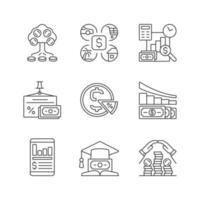 conjunto de ícones lineares de finanças vetor