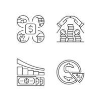 conjunto de ícones lineares para gastar dinheiro vetor