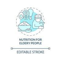 ícone de conceito azul nutrição para idosos vetor