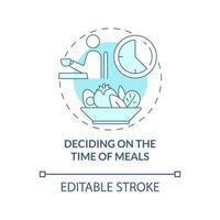 ícone de conceito azul para decidir a hora das refeições vetor