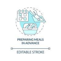 preparando refeições com antecedência ícone do conceito azul vetor