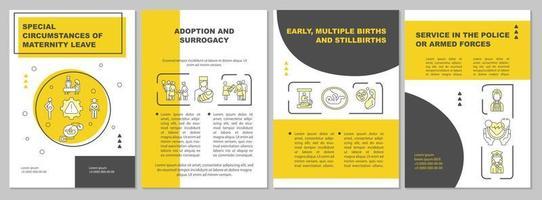 Circunstâncias especiais de licença maternidade modelo de folheto amarelo vetor
