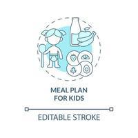 plano de refeição para ícone de conceito azul de crianças vetor