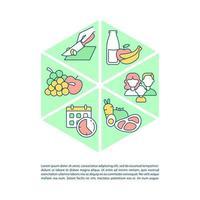 planejamento de refeição para ícones de linha de conceito familiar com texto vetor
