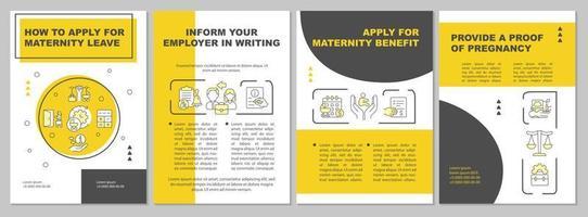 como se inscrever para licença maternidade modelo de folheto amarelo vetor