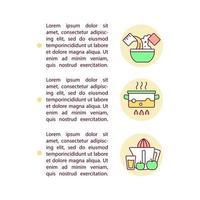 ícones de linha de conceito de opções de receitas com texto vetor