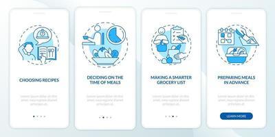 planejamento de refeições, noções básicas, tela azul da página do aplicativo para dispositivos móveis de integração vetor