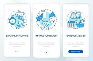 motivos para o planejamento de refeição tela azul da página do aplicativo móvel de integração vetor