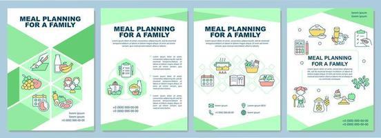 planejamento de refeição para modelo de folheto familiar vetor