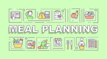 banner de conceitos de palavras de planejamento de refeição vetor