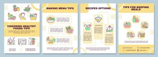 modelo de folheto de dicas de planejamento de refeições vetor