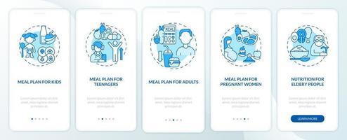 plano de refeições para diferentes faixas etárias tela azul da página do aplicativo móvel de integração vetor