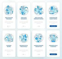 plano de refeições e conjunto de tela de página de aplicativo móvel azul relacionado à dieta vetor