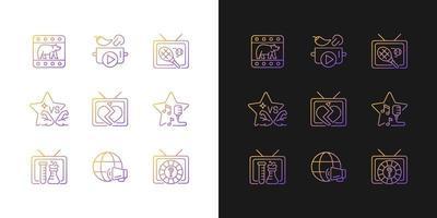 ícones de gradiente de tv configurados para modo claro e escuro vetor