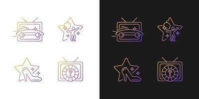 ícones de gradiente de gêneros tv definidos para modo claro e escuro vetor