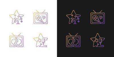 ícones gradientes de gêneros de séries de televisão definidos para o modo claro e escuro vetor