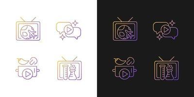 ícones gradientes da série de tv configurados para modo claro e escuro vetor