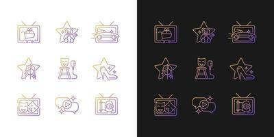 Ícones de gradiente de programa de televisão definidos para modo claro e escuro vetor