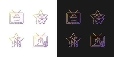 ícones de gradiente de televisão definidos para modo claro e escuro vetor