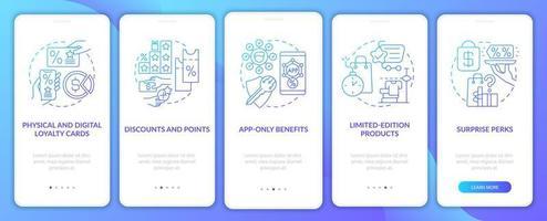 tela da página do aplicativo móvel de integração do programa de fidelidade da mercearia gradiente azul vetor