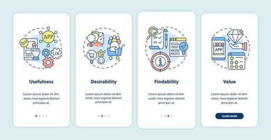 tela da página do aplicativo móvel de integração dos princípios ux vetor