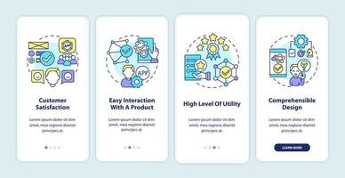 tela da página do aplicativo móvel de integração de uso do produto vetor