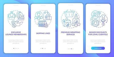 programa de fidelidade dá vantagens na tela da página do aplicativo móvel com gradiente azul vetor