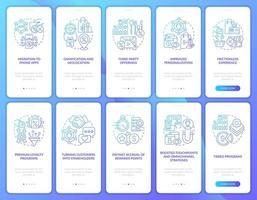 sistema de recompensa para clientes gradiente azul de integração de tela de aplicativo para dispositivos móveis vetor