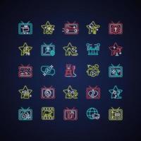 conjunto de ícones de luz de néon do programa de tv vetor