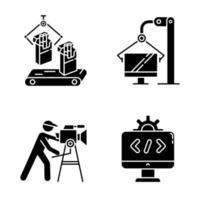 conjunto de ícones de glifo de tipos de indústria vetor