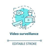 ícone do conceito turquesa de videovigilância vetor