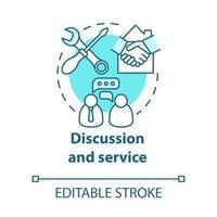 ícone do conceito turquesa de discussão e serviço vetor