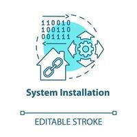 ícone do conceito turquesa de instalação do sistema vetor