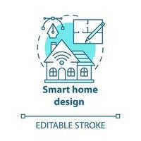 ícone de conceito turquesa de design de casa inteligente vetor