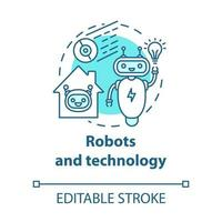 robôs e ícone de conceito de tecnologia turquesa vetor