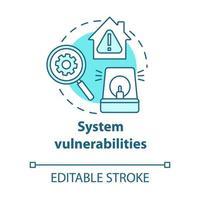 ícone do conceito turquesa de vulnerabilidades do sistema vetor