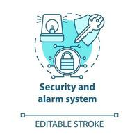 ícone do conceito turquesa do sistema de segurança e alarme vetor