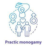 ícone do conceito de monogamia azul prática vetor
