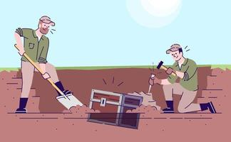 ilustração em vetor plana caçadores de tesouro